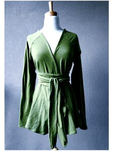 Organic cotton cardigan top wrap top green tunic von econica