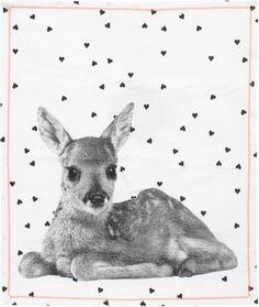 Present Time - Theedoek Heart Deer Hert - Katoen - 200gms - Wit