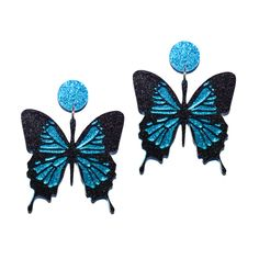 BLUE MOUNTAIN BUTTERFLY EARRINGS Commonly known as the Blue Mountain Butterfly, the Papilio Ulysses is a swallowtail native to Australia and it's surrounding islands. Commonly found in warm climates, Ulysses' are quite elusive however have been seen fluttering throughout tropical rainforests in north-east Queensland. Did you know that this magical creature is one of the biggest butterflies in Australia with a wingspan of up to 13cm? Wow!