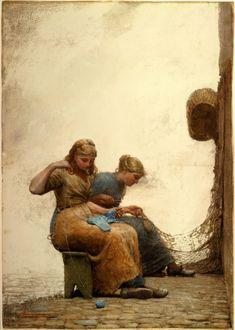 Mending the nets, 1881, Winslow Homer