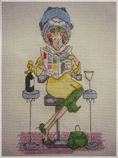 0 point de croix femme chez le coiffeur - cross stitch lady at the hairdresser
