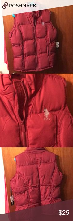 US Polo Vest Brand New With Tags. Maroon/red Puffy. Perfect for cold and snowy or sleet and rainy weather. US Polo Jackets & Coats Vests