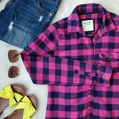 {Abercrombie & Fitch} Button-Up Flannel Top -100% cotton -Super comfy! -Colors are pink and navy  -Worn 3-4 times ⭐HP 2/6/16 Weekend Unifrom ⭐HP 2/8/16 Top Trends Abercrombie & Fitch Tops Button Down Shirts