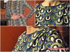 Gotowy wykrój - bluzka z zakładkami na ramieniu