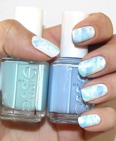 DIY splatter manicure: You just need a straw, scissors, Essie Bikini So Teeny, Essie Blanc, and Essie Mint Candy Apple.