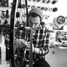 @pristinefixedgear sammy spoking the wheel again #amsterdam #trackbike #amsterdam