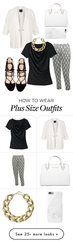 """Plus size black and white"" by miki78 on Polyvore featuring River Island, M&Co, TravelSmith, Kenneth Jay Lane, Michael Kors, Marc Fisher and Native Union"
