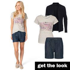 Shirt mit Fahrrad-Print und Shorts von zero #zerofashion #getthelook