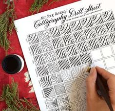 Thissheet provides you with ten fresh and different calligraphy drills to help you practice using your dip pen! It will serve you best when printed on 32# laserjet paper, and you can use it with any pen and nib combination. For an additional challenge, you can check out the Not Your Average Calligraphy Drills: Under the Sea Edition!