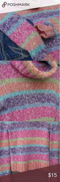 💕✨NEW LISTING✨💕 Multi Colored Cute Sweater!! Very Soft and has such a warm feeling!  Love the rainbow colored pattern!! Gently worn but great condition! No stains or picks!!   75% Acrylic  15% Wool 10% Nylon Machine Cold Wash Lay Flat To Dry Delia Sweaters