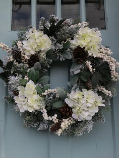 White Hydrangea and berries Wreaths, winter wreaths for front door, grapevine, spring, farmhouse, primitive, all year long wreaths Christmas Wreaths To Make, Winter Wreaths, Christmas Projects, Holiday Crafts, Christmas Decorations, Wreaths For Front Door, Door Wreaths, Hydrangea Wreath, Floral Wreath