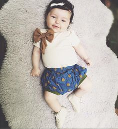 Polka Dot Cotton Bloomers Blue and Mustard with Olive by EWMcCall
