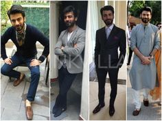 Fawad Khan for 'Khoobsurat' promotions   Look 1 : Zara shirt and pants with a River Island at Jabong cardigan. A Zara tie, Mont Blanc watch and tan loafers. Look 2: Koovs jacket paired with Raghavendra Rathore jeans and a waist coat from Benetton. Louboutins and a Rathore pocket square. Look 3: Akshata Bhojania pin striped suit for Fawad with a Marks and Spencer shirt, Thomas pink tie and pocket square and Canali shoes. Look 4 : Favorite! Raghavendra Rathore kurta
