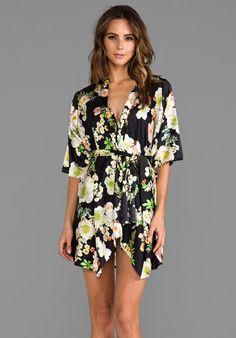 ZINKE Delphine Robe in Black Garden Floral - Robes