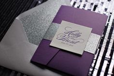 LAUREN Suite Glitter Pocket Fold Package, letterpress wedding invitations in pocket folds, purple and silver wedding invitations
