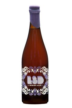 LSD Honey Ale from the Indeed Brewing Company Wine Bottle Design, Wine Bottle Labels, Wine Bottles, Hot Sauce Bottles, Wine Packaging, Brand Packaging, Packaging Design, Alcoholic Drinks, Beverages