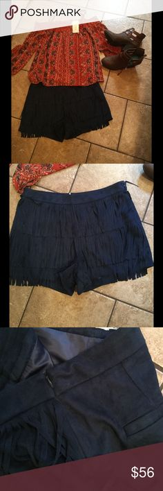 """New Blu Pepper fringe suede shorts M,L lined Zips up the side, paired with another of our pieces...MEDIUM MEASURES 29"""" waist..13"""" length..3"""" inseam...LARGE MEASURES 32"""" waist..14"""" length...2"""" inseam..fully lined..polyester blend...BOOTIES Offered from Armour Boutique Auburn Al..Check the Facebook page Admin Katy Marie Goodwin..tell them Lucy sent you Blu Pepper Skirts Mini"""