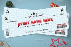 Christmas Event Ticket by Tzochko on @creativemarket