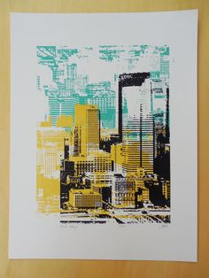 Pittsburgh Skyline Print  Altered Pittsburgh  by zappamade on Etsy