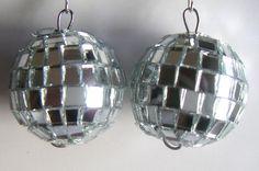 Glass Sphere Earrings New Years EveDisco Ball Earrings by QVintage, $15.00