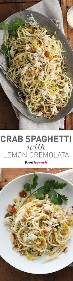 Simple but elegant, this Crab Spaghetti is pure comfort food with a high brow touch—because who doesn't find comfort in twirling pasta around the big old clumps of sweetly lush lump crab. | foodiecrush.com