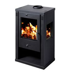 POD 8 wood burning stove. The Pod Eight has a steel body giving a maximum of 10kw of heat with a nominal output of 7kw. A contemporary design with a large ceramic glass front and side windows giving an excellent view of the fire from three sides, the stove also has a convenient log storage space under the fire box. The stove is available in matt black. Internally it's fully lined with firebricks.