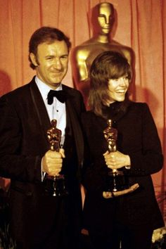 """Academy Award Winners of 1971 - Gene Hackman - Best Actor Oscar for """"The French Connection"""" and Jane Fonda - Best Actress Oscar for """"Klute"""""""