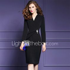 025983bf753 Women s Plus Size Going out Street chic Sophisticated Sheath Dress - Solid  Colored Black