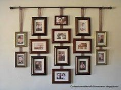Pictures hanging from ribbon from a drapery rod. this would be cute for grad pictures and senior pics to see how theyve grown and progressed