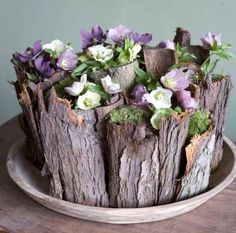Rustic floral arrangement with wooden stump vase Deco Floral, Arte Floral, Floral Design, Ikebana, My Flower, Flower Art, Fresh Flowers, Beautiful Flowers, Purple Flowers