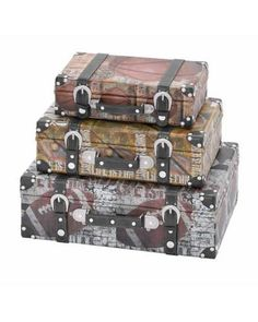 Set of Vintage Sport Themed Multicolored Luggage Cases - These are designed over a rectangular, flat bottom base with a sports theme depicting football, baseball, and golf. The leather straps and handles make for safe handling of these light-weight, handmade wood canvas boxes.