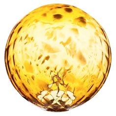 Amber Glow Gazing Ball $39.99 Weather-resistant. General Material: Glass. Dimensions: 9.840L x 9.840W x 9.840H