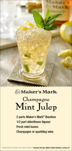 mint drink Mint Julep with added Sparkling wine and elderflower add a touch of class to a true Kentucky classic. Ingredients: 2 parts Makers Mark Bourbon, part elderflower liqueur, fresh m Bar Drinks, Cocktail Drinks, Cocktail Recipes, Alcoholic Drinks, Wine Cocktails, Drink Recipes, Kentucky Derby, Julep Recipe, Derby Party