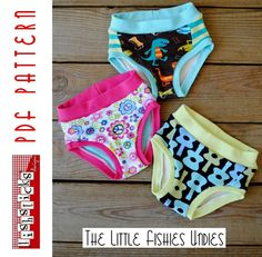 fairytale frocks and lollipops :: fishsticks designs, bonnie ferguson, the little fishies undies, briefs, underwear, underpants, boy undergarment, girl, panties, sewing, instant, e-pattern, downloadable, pdf, e-book, tutorial