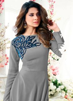 Buy Gorgeous Gray Colored Designer Partywear Embroidered Georgette Anarkali Suit at Rs. Get latest Anarkali Suit for womens at Peachmode. Kurti Embroidery Design, Embroidery Fashion, Embroidery Dress, Kurti Designs Party Wear, Kurta Designs, Indian Designer Outfits, Designer Dresses, Stylish Dresses, Fashion Dresses