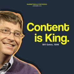"""Muito se fala hoje em dia sobre """"Marketing de Conteúdo"""", mas em 1996, Bill Gates previu como seria o mercado e como seria possível lucrar com a produção de conteúdo.  #billgates #marketingdeconteudo #conteudo #dicasdemarketing #marketingdigital Bill Gates, Marketing Digital, Content, Movie Posters, Content Marketing, Film Poster, Billboard, Film Posters"""