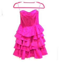 Rebecca Taylor Strapless Fuchsia Silk Dress-Size 4 Gorgeous hot pink dress with layered Ruffles on skirt.  Elastic bodice with zipper on back. 100% silk. Excellent worn condition Rebecca Taylor Dresses Strapless