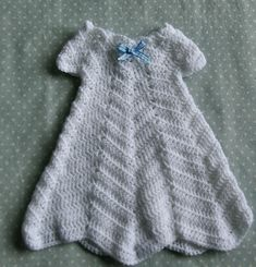 Ravelry: Ripple Baby Gown pattern by Peggy S Besco Jessica Esterly free pattern Baby Girl Crochet, Crochet Baby Clothes, Crochet For Kids, Knit Crochet, Free Crochet, Preemie Crochet, Crochet Dresses, Christening Outfit, Christening Gowns