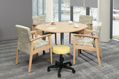 Design and ergonomics work seamlessly in the Enable Table Series. By attaching the E-Z Lift Height-Adjustable Tablet, wheelchair users can enjoy their own table surface adjusted to the perfect height. #healthcarefurniture