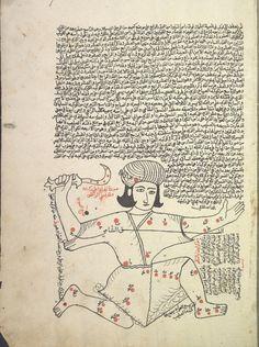 Hercules (al-jathi 'ala rukbati), the kneeling man. (Constellations of the northern hemisphere). folio 9. Heracles [Ṣuwar al-kawākib] [صور الكواكب] Creator: Ṣūfī, ʻAbd al-Raḥmān ibn ʻUmar, 903-986 صوفي، عبد الرحمن بن عمر Origin: [1607] According to the colophon, copied on 4 Ramaḍān 1015 (fol. 40b). Reading statement in the name of Ibrāhīm ibn al-Shaykh Muḥammad, Jumādá al-Ulá 1114 [1702] (fol. 43b).