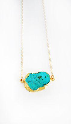 Raw+Turquoise+Necklace+por+keijewelry+en+Etsy,+$60,00