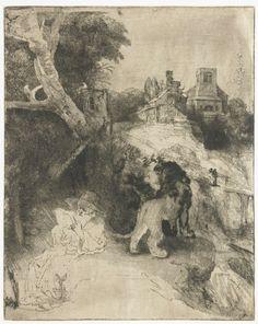 Rembrandt van Rijn – Hieronymus, lezend in een Italiaans landschap, 1651/55