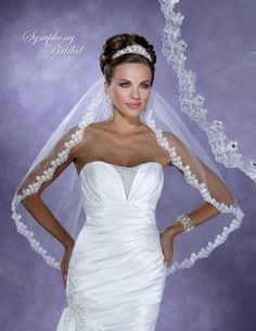 Bella Mera Bridal Boutique -  Symphony Bridal Veil - Style 6160VL -Lace Embroidered Edge Veil,  (http://www.bellamerabridal.com/symphony-bridal-veil-style-6160vl-lace-embroidered-edge-veil/)