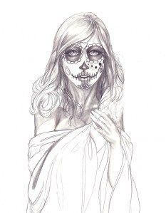 amazing sugar skull drawing.