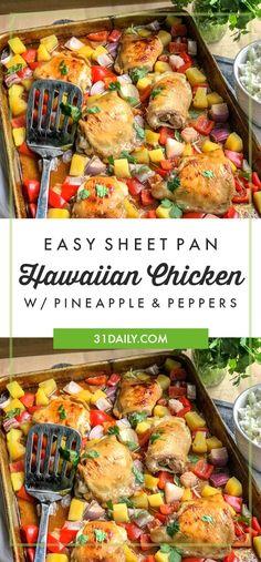 Easy Sheet Pan Hawaiian Chicken | 31Daily.com #sheetpan #easyrecipes #hawaiianchicken