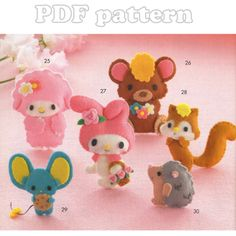 My Melody and Friends, 6 Felt Plush Pattern PDF