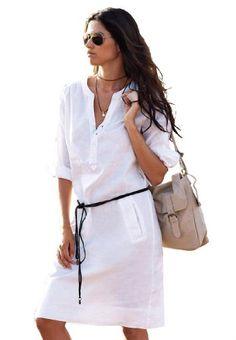 La Redoute Women's Plus Size Belted Linen Blend Shift Dress By La Redoute #workdresses