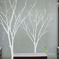 Grey Winter Autumn Tree Birds Wall Stickers, Tree Wall Decals(Height:100cm):P534
