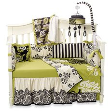 Yes, this is baby bedding but my youngest daughter has me doing her bedroom in, Spring Green, black (including a chalkboard painted wall) and white. Most of the black accents will come mixed with green and white in the bedding. I just can't do heavy black in a bedroom (even though she really wants it). Isn't being a parent great?