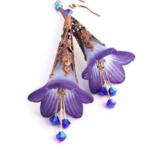 Midnight blue bliss handmade trumpet flower